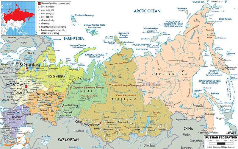 آشنایی کامل با نقشه کشور روسیه