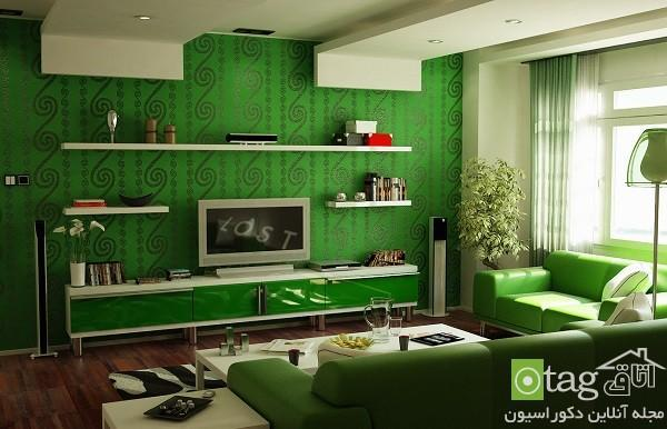 مدل هایی بسیار زیبا از دکوراسیون اتاق نشیمن به رنگ سبز